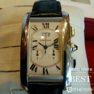 Cartier卡迪亞全白K金計時三環藍寶石石英手錶