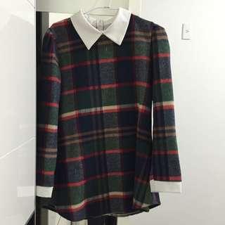 韓毛呢格紋洋裝