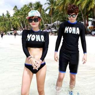 ☀Chi's shop~☀ 預 2016新款 韓版 【SURF情侶款】長袖衝浪泳衣BIKINI比基尼 溫泉泳衣 兩件式 接急單