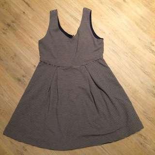 厚棉背心條紋洋裝