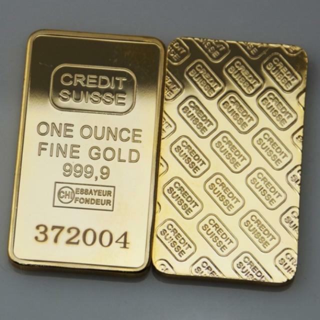 1oz Real 24k Gold Plated Credit Suisse Layered Bullion Bar Every Comes With Set Of Unique Serial Numbers Lasered On It Luxury Accessories