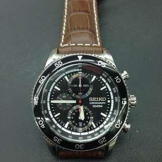 Seiko SNDG57P2 Tachymeter Chronograph Watch (Brown Leather)
