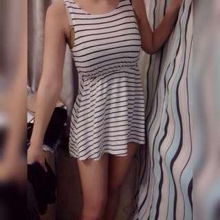 條紋傘狀背心連身裙