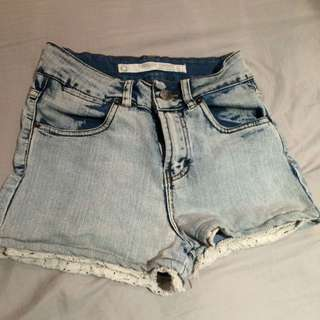 Denim Shorts High Waisted Crochet Details SALE