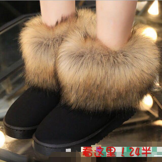 狐狸毛雪靴藍色款