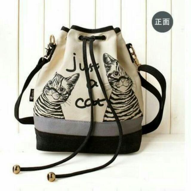 原創潮流設計款貓咪水桶包