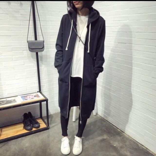 黑色長版連帽棉外套(全新)400元含運