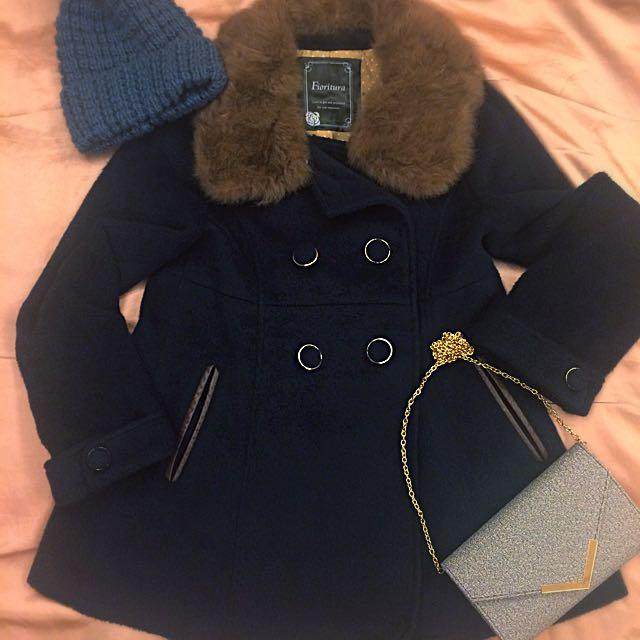 日牌質感深藍毛呢大衣(含郵)