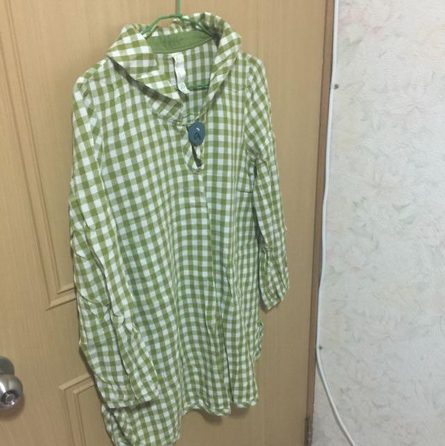 a la sha綠白格棉麻長版襯衫