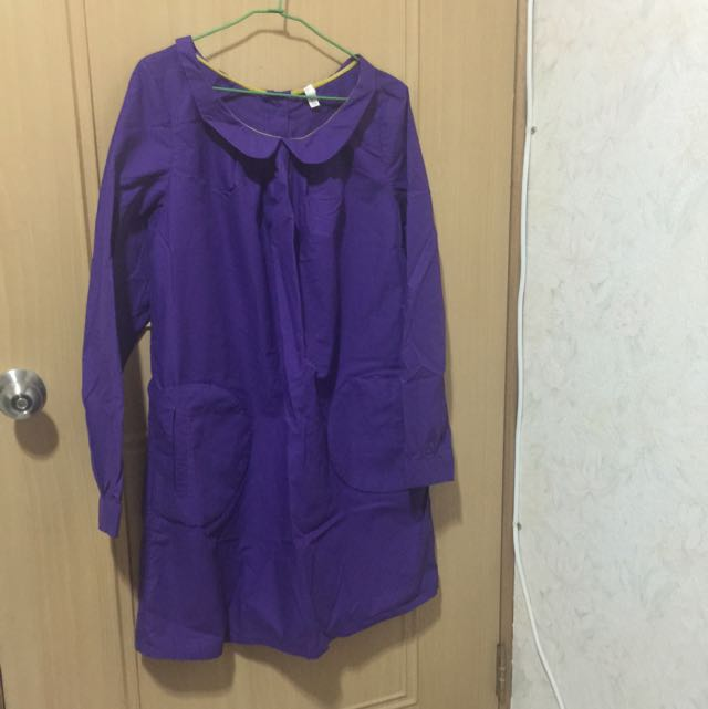 a la sha紫色長版襯衫
