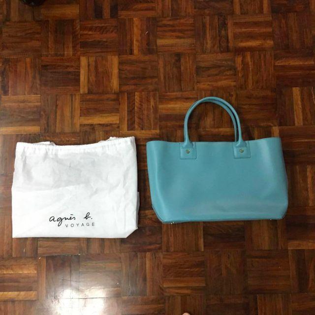 Agnes. b 全新正品日本帶回 精緻質感牛皮手提包/托特包 Tiffany湖水綠