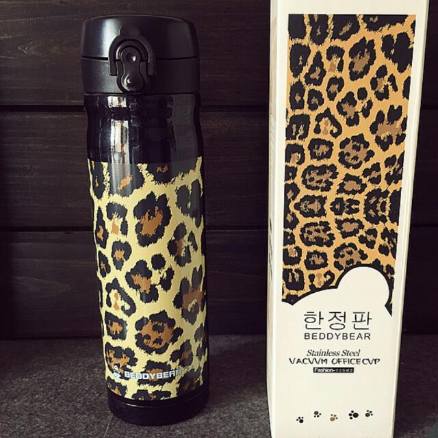 韓國BEDDY BEAR黑白豹紋時尚限量款不繡鋼保溫瓶