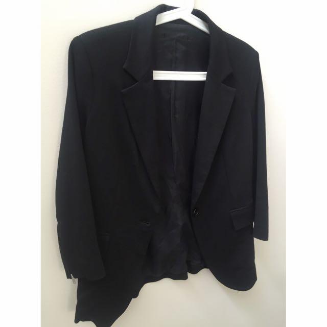 AU8-10 Black Boyfriend Blazer With 3/4 Sleeves