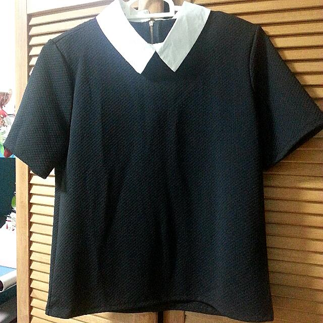 BN Minimalistic Black (With White Collar) Textured Top