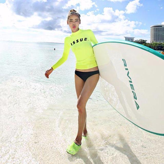 ☀Chi's shop~☀預 2016新款 韓版 螢光SURF長袖衝浪泳衣BIKINI比基尼 溫泉泳衣 兩件式 接急單