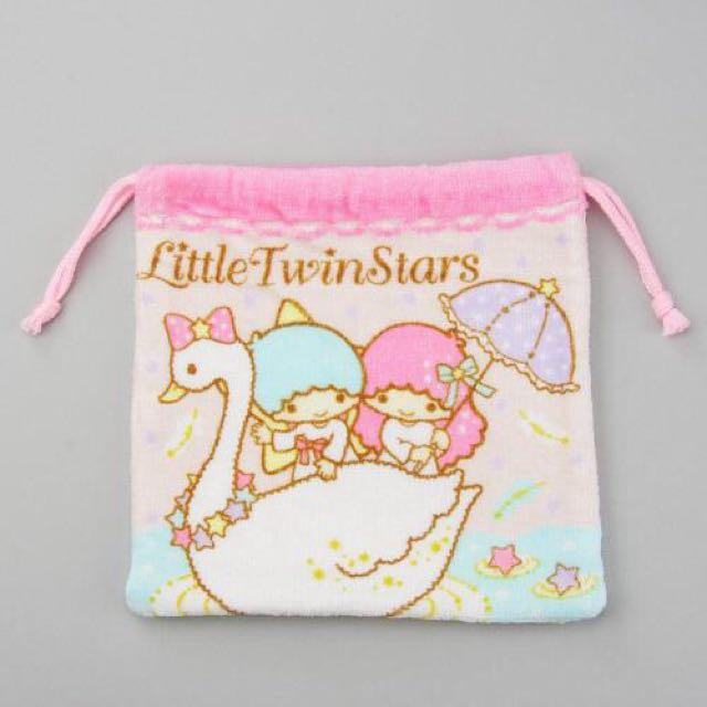Coco馬日本代購~日本三麗鷗~雙子星KIKI LALA束口袋 收納袋 小物袋 收納袋 毛巾布~現貨~