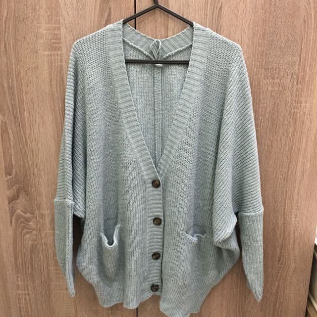 Gmarket 湖水藍 老奶奶針織外套