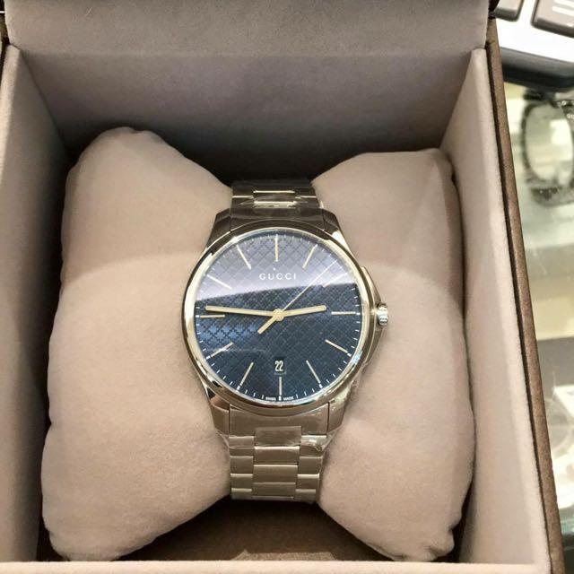 GUCCI菱格紋時尚錶