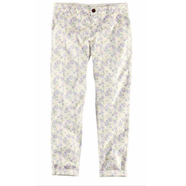 H&M GARDEN 花卉休閒反折長褲老爺褲