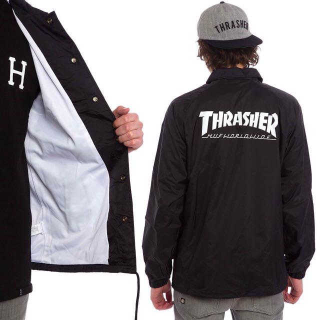 HUF X THRASHER黑色風衣鈕扣教練外套