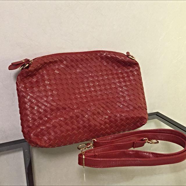 時尚品牌JW 經典時尚手工編織小包💋迷人酒紅