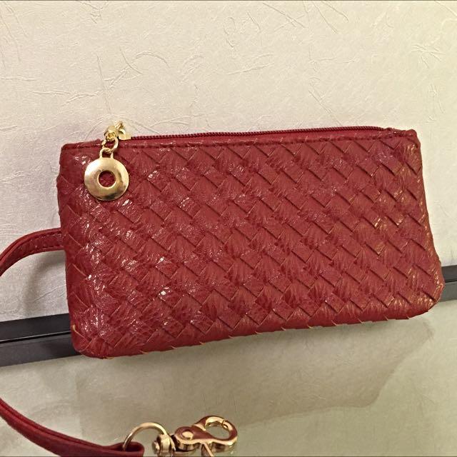時尚品牌JW 經典手工編織手拿 零錢包 💋迷人酒紅