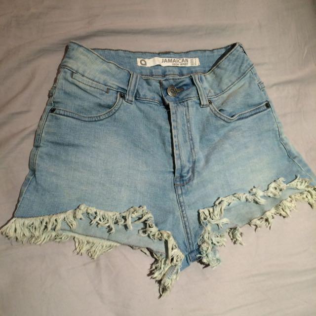 Light Blue Denim High Waist Shorts, Scrappy Leg Hole Look