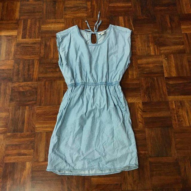 Monki 日系牛仔時尚可愛隨性風無袖顯瘦洋裝