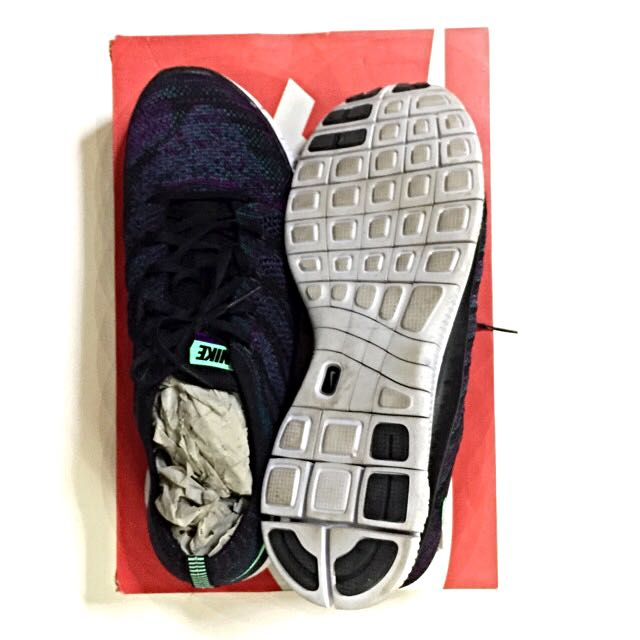 c06f9bceb7bed Nike Free Flyknit NSW - Black Green-Glow-Radiant-Emerald-Vivid Purple  US10 UK9