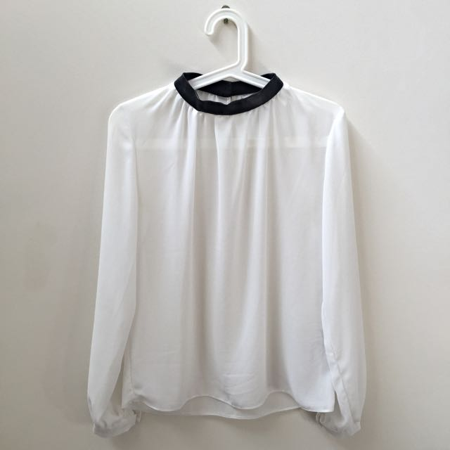 AU8 ASOS Sheer High-neck White Blouse With Contrast Black PU Collar