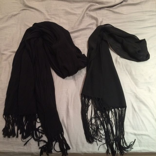 TWO black Scarves, One Sheer, One Cotton