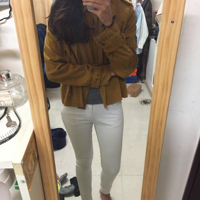 Zara 芥黃色襯衫外套