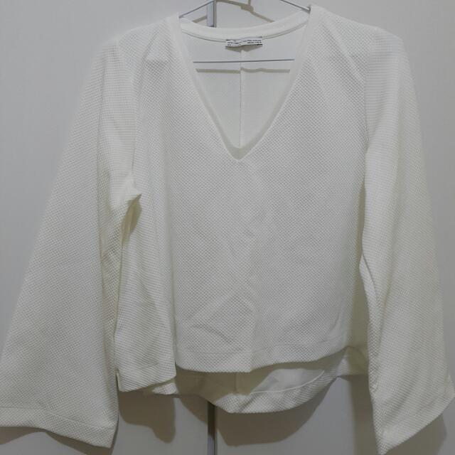 (降價)ZARA V領 純白前短後長上衣