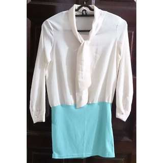 [Brand New] Long Sleeve Office Dress (Cream/Turquoise) - Size S