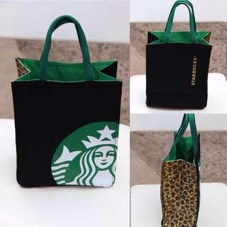 推薦 #現貨  (中號) 日本Starbucks星巴克包 隨行杯購物袋手拎袋 棉麻帆布包包