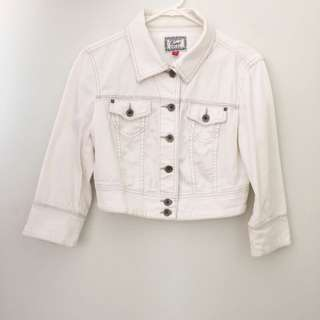 Cropped White Denim Jacket With Buttons