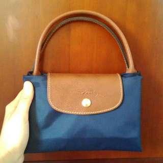 Longchamp 短把/M/深藍