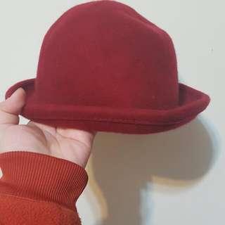 紅色 酒紅色 圓帽 禮帽 出清 帽子