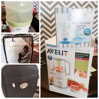 Avent Food Processor, Mothercare Baby Carrier, Avent Warmer Beg, Little Bean Sterilizer