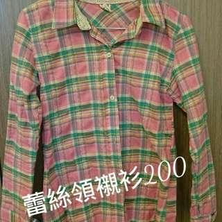 蕾絲領 格子襯衫 粉 綠