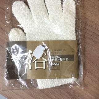 [全新]淨白去角質沐浴手套(一隻)+止滑透明肩帶(一對)