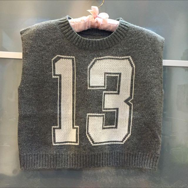 2015新款 百搭個性針織背心數字毛衣 短版