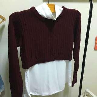 LOWRYS FARM 酒紅毛衣+無袖白色薄衫