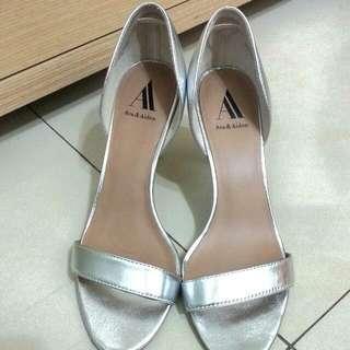銀色短跟鞋 美國設計師Ava Aiden鞋款 大尺寸 大尺碼 女鞋 跟鞋