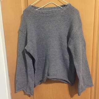 全新灰色寬袖針織毛衣
