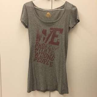 專櫃美國搖滾品牌長版灰色短袖上衣