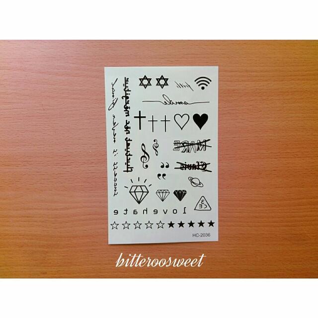 韓國3CE黑白刺青貼紙/紋身貼紙