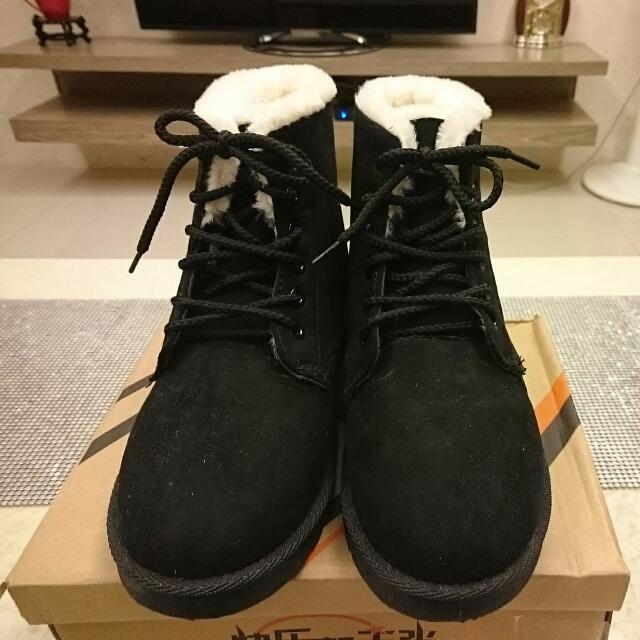 【全新】40號保暖 刷毛 短靴 綁帶雪靴  建議穿39號的購買唷~!