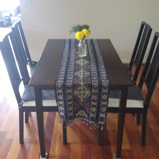 5 Piece Dining Table Set Dark Brown
