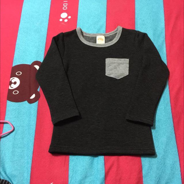 現貨9碼,嬰兒寶寶,台灣製,灰黑條紋+灰色口袋長袖厚刷毛鋪棉上衣,版偏小(正常碼7)